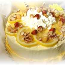 Lemon cake with hazelnut garnish
